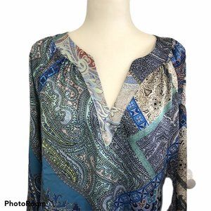 Chicos Size 2 Womens Blue Multi Color Print Blouse